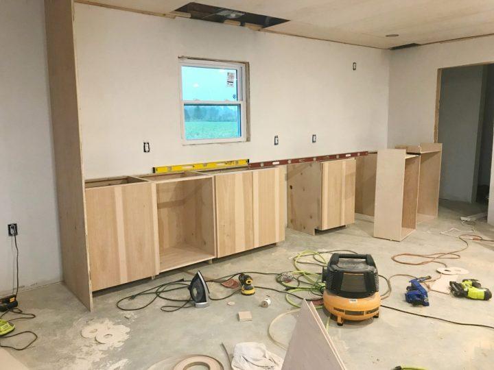 DIY kitchen case cabinets installed
