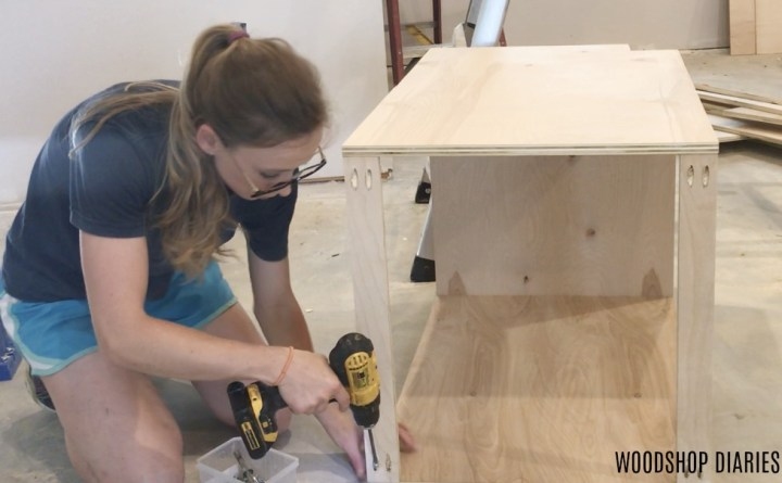 Assembling top supports into Plywood cabinet box