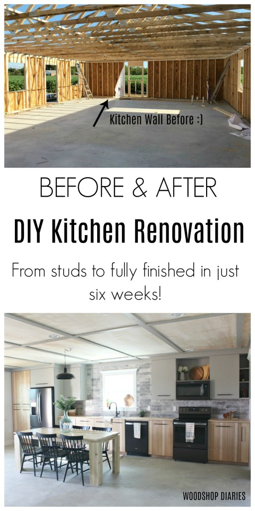 Amazing Before and After DIY Kitchen Renovation from Studs to Fully Finished in just six weeks! Modern Kitchen Design totally DIYed!