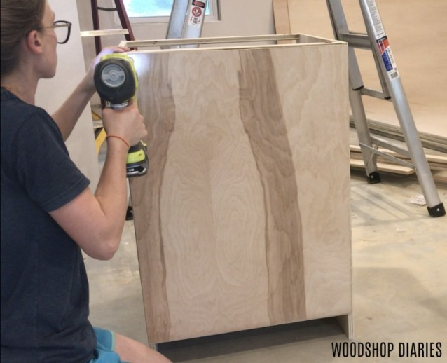 Nailing back panel onto DIY cabinet carcass