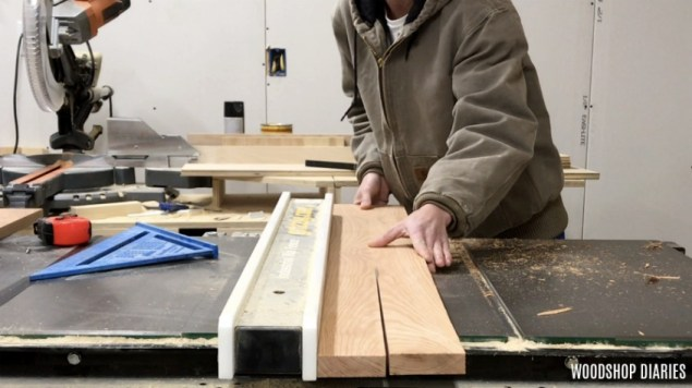 Shara Woodshop Diaries ripping coffee wood on table saw