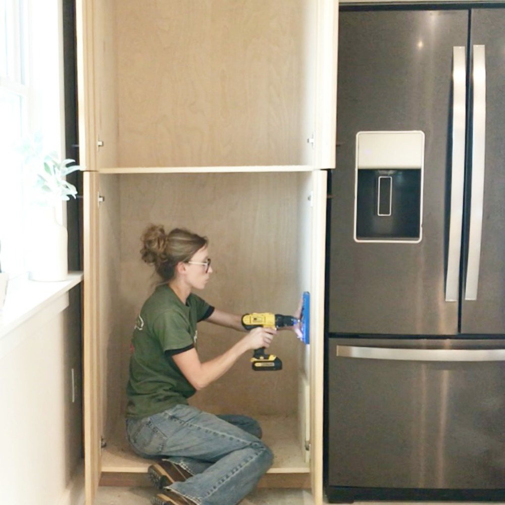 Woodshop Diaries Drilling Holes In Cabinets For Shelves Kitchen Reno