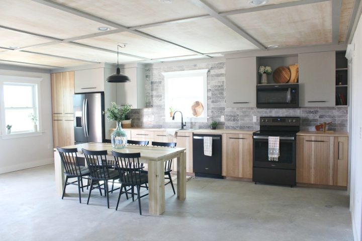 Beautiful kitchen with handmade DIY kitchen cabinets with hickory doors on bottom and gray cabinets on top--Modern Kitchen Design