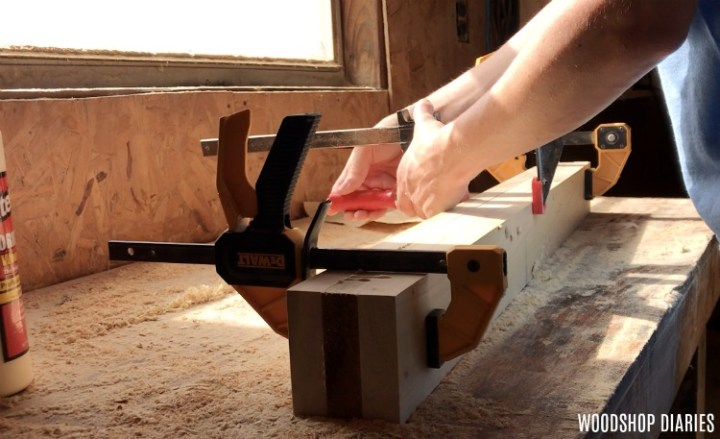 Glue and clamp together modern bed frame legs