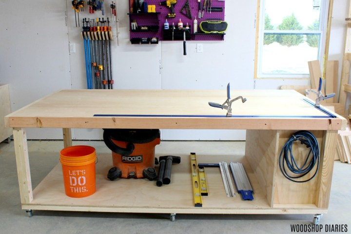 DIY Mobile workbench with storage underneath for vacuum and buckets