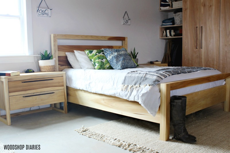 DIY Modern Bed Frame with matching nightstands poplar