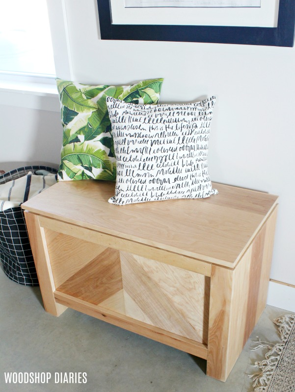 DIY Storage Bench-Modern Rustic Style with Rough Sawn Plywood--Free plans and tutorial