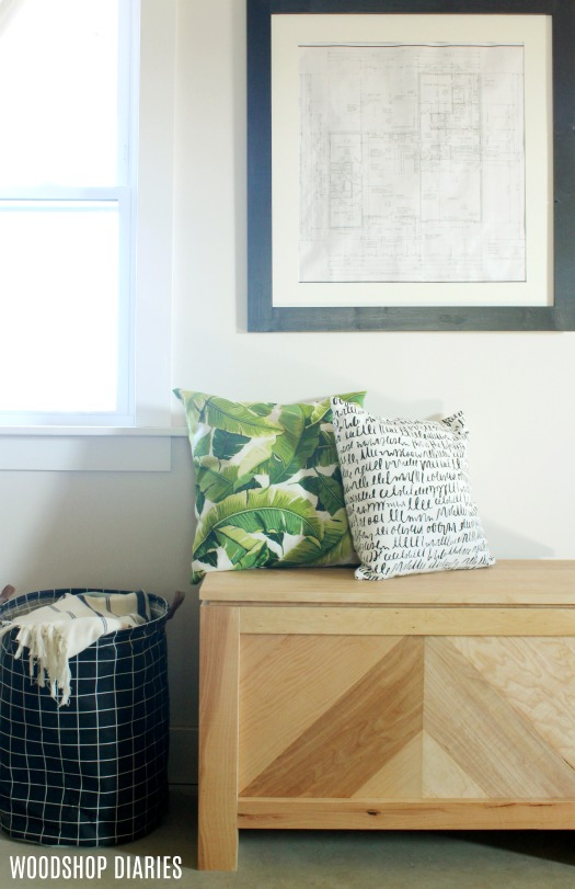 DIY Storage Bench--Free plans and video tutorial--Modern Rustic Plywood Storage Trunk