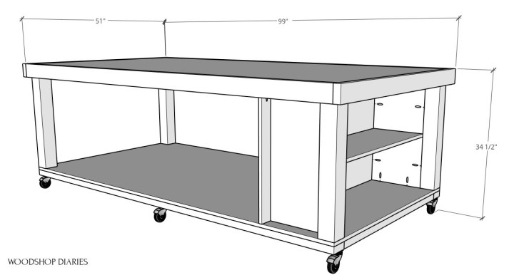DIY mobile workbench 3D diagram with overall dimensions