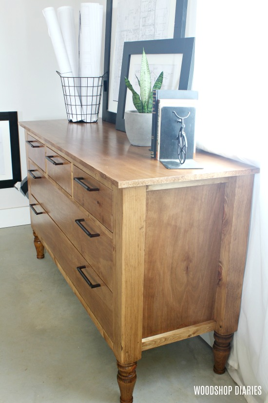 Build Your Own DIY Five Drawer Dresser with Traditional Style Legs--Free Video Tutorial and Step by Step How To