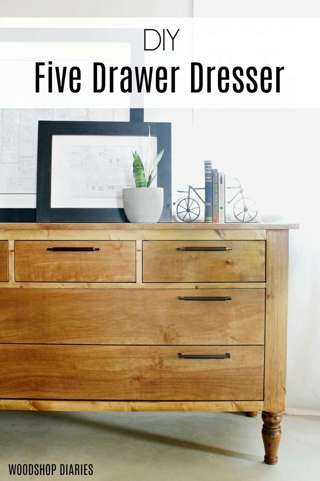 How to Build a DIY Dresser with Five Drawers--Traditional style works well in bedroom or in living or dining room as a console--Free tutorial and video