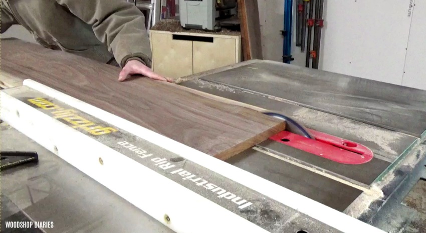 Cut down walnut boards to make DIY modern shelf