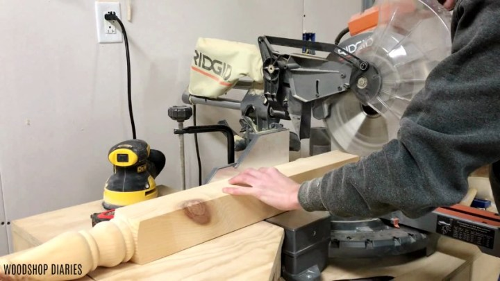 Cut legs down for DIY dresser