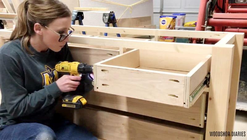 adjusting tilt of drawer box on slides in dresser