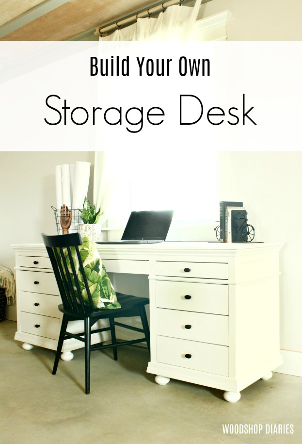 How to Build a Beautiful DIY Storage Desk--Building Plans and Video Tutorial--Furniture Building Plans