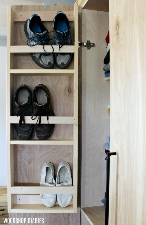 Shoe Shelf on DIY Closet Cabinet