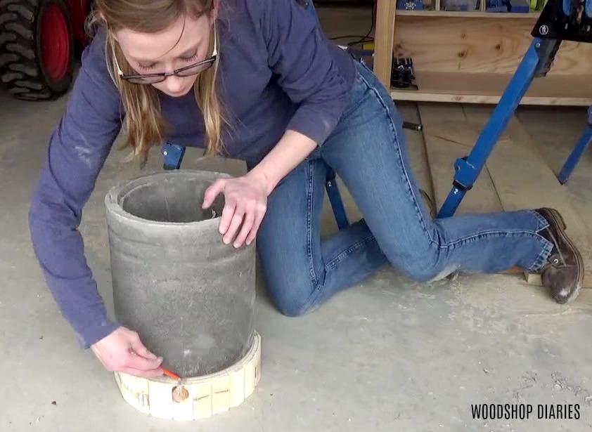 Trace concrete pot onto wooden base