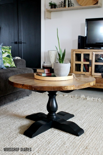 DIY Round Pedestal Coffee Table