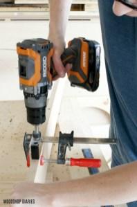DIY Linen Cabinet Drill Dowel Holes Ridgid Drill