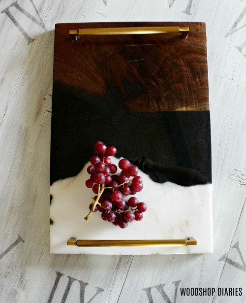 Resin Serving Tray and Wood and Marble Ends Overhead view
