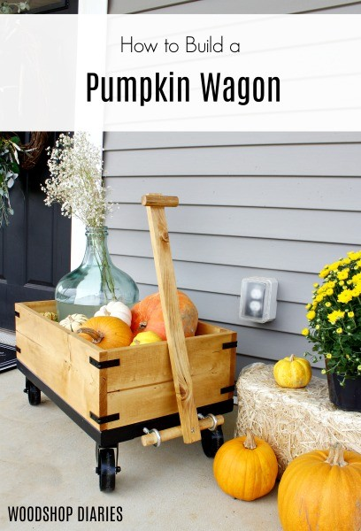How to Build a DIY Wooden Wagon great for Fall Front Porch Decor with Pumpkins and Mums