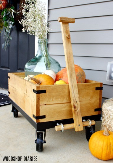 DIY Fall Wooden Wagon with Pumpkins and Mums