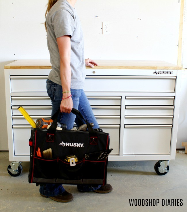 Easy to carry tool tote for taking work off site