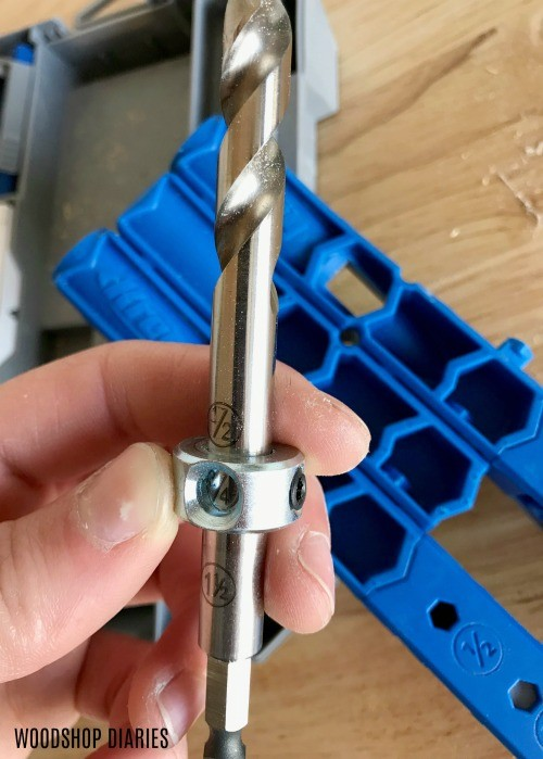 Close up of Kreg 320 Jig bit--an excellent gift for Dads and DIYers who want to build