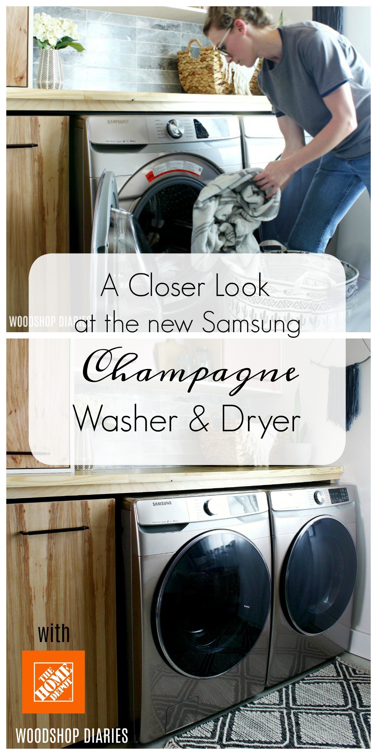 A closer look at my recent laundry room refresh with a look at the new Samsung Champagne Washer and Dryer