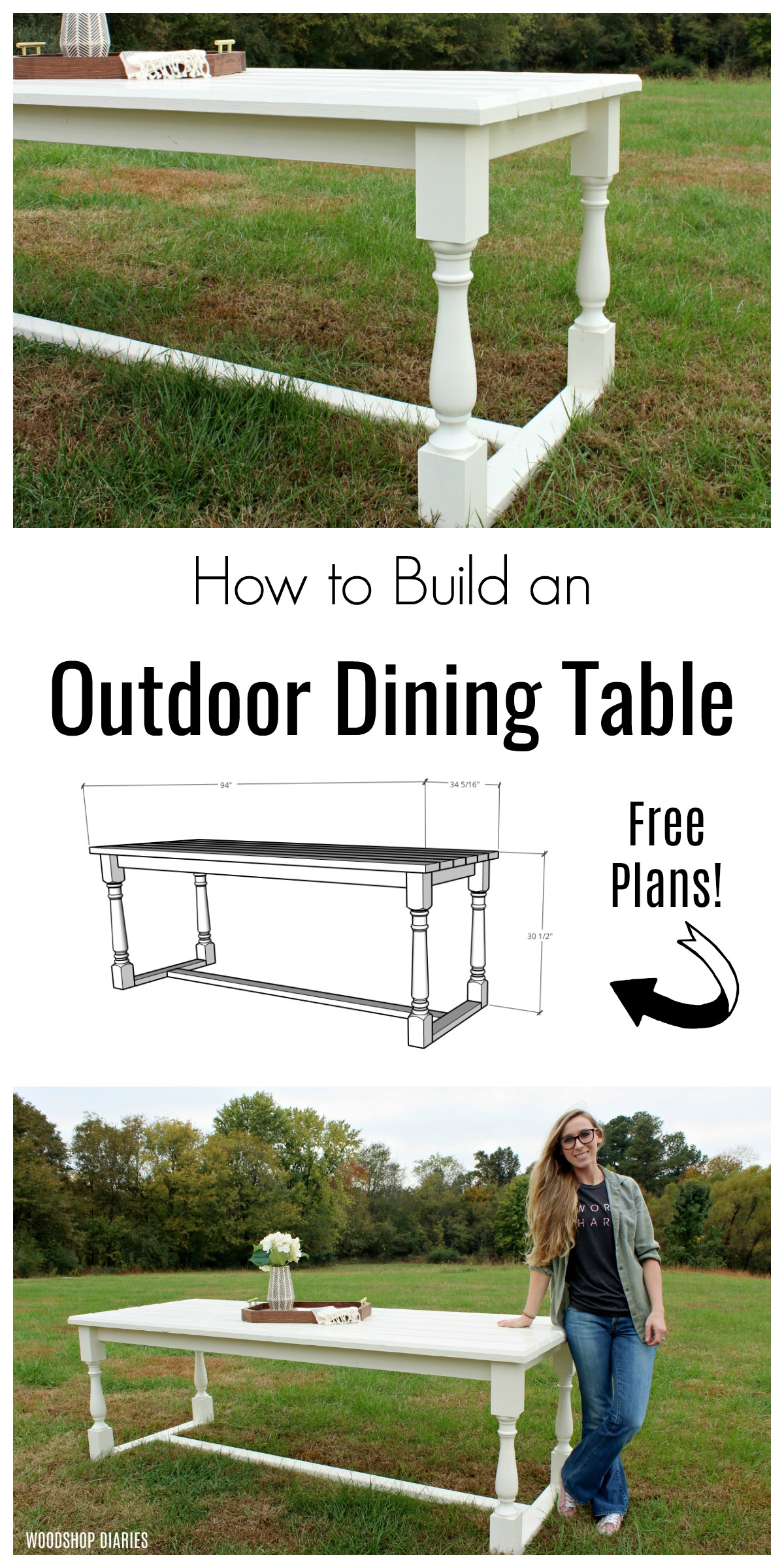 How to Build a DIY Outdoor Dining Table with free plans!