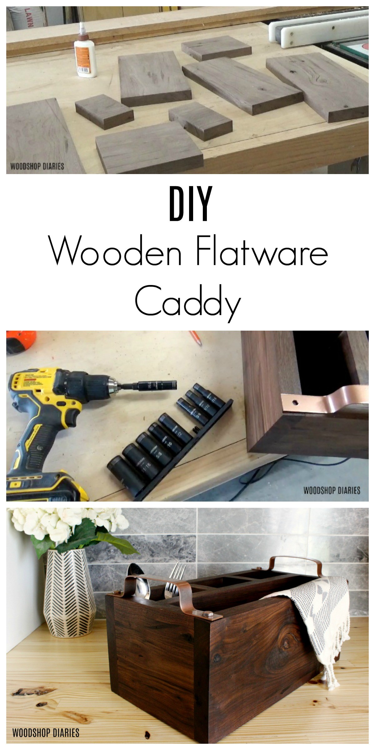 How to make a simple DIY wooden flatware caddy from one board and a little steel flat stock
