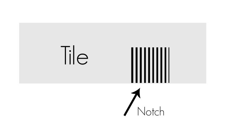 diagram of how to notch a tile