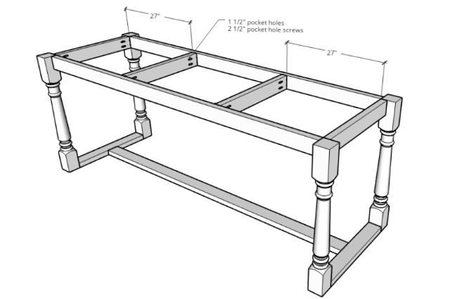 Diagram of DIY outdoor dining table base assembly with top supports added