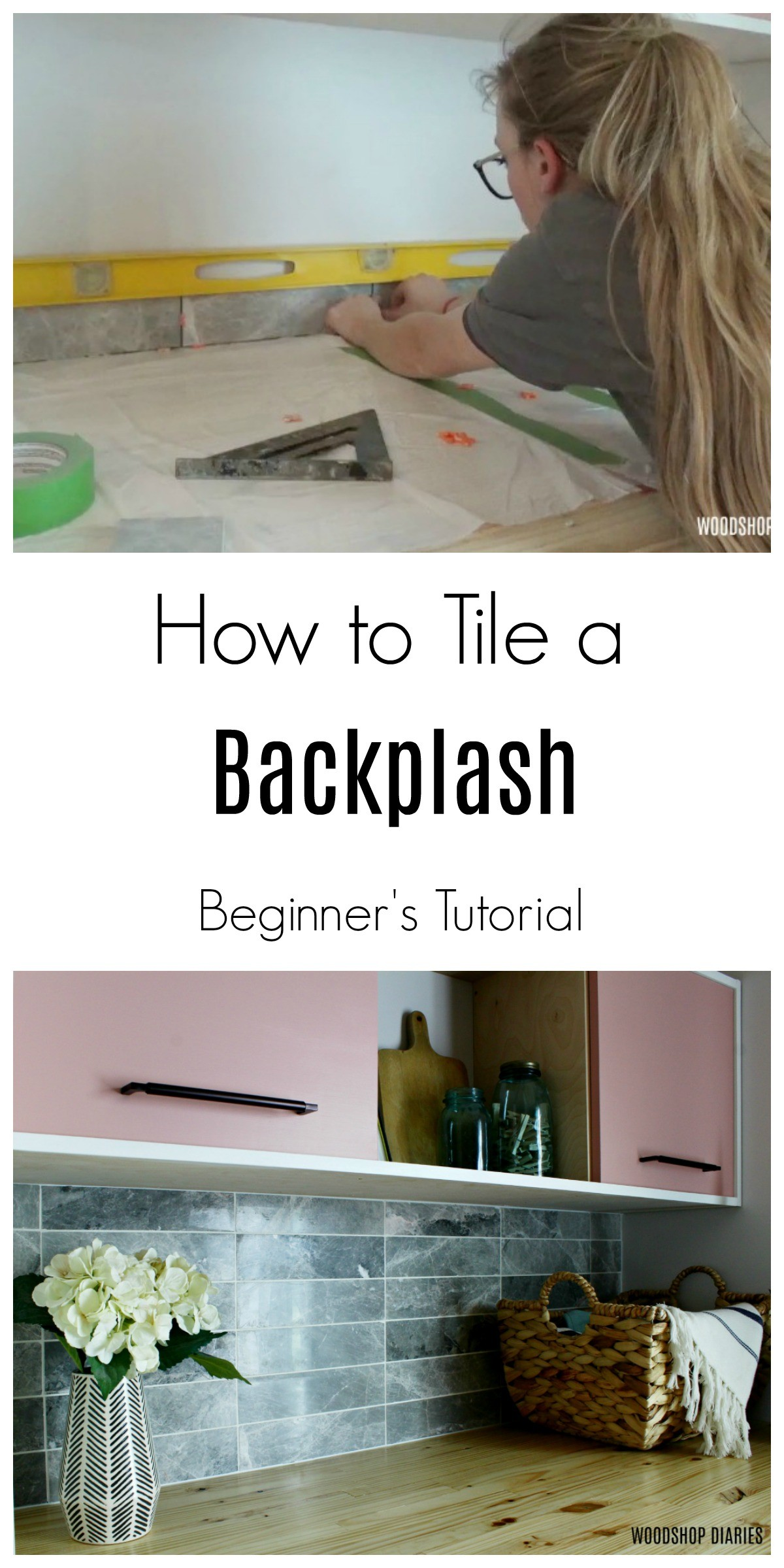 How to Tile a Backsplash Pin Image Graphic