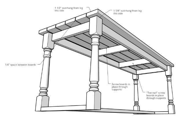 DIY outdoor dining table assembly plans