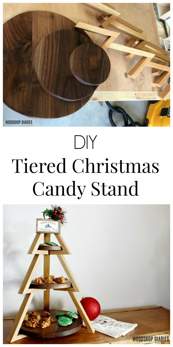 How to make a simple DIY Tiered Plate Candy Stand Shaped like a Christmas Tree to display candy--Plus 3 ingredient Christmas Candy Recipe!
