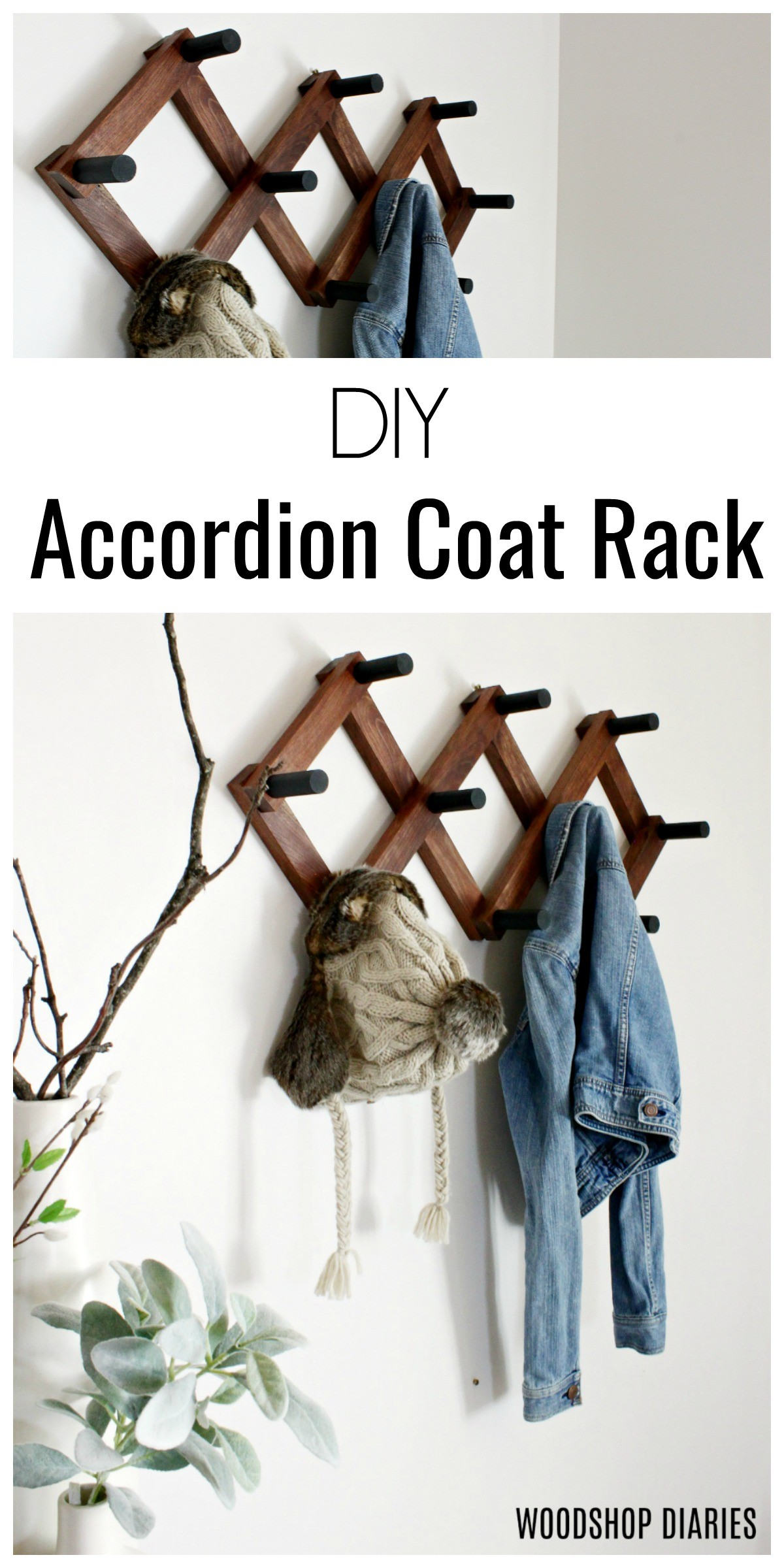 How to Build a DIY Accordion Coat Rack with Two Tools and One Board!