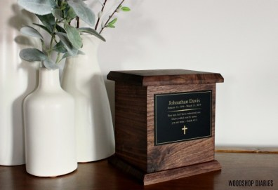 DIY Wooden Urn Walnut with Black Personalized Plate small