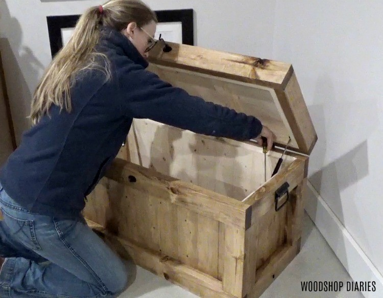 Working on soft close hinges on DIY hope chest