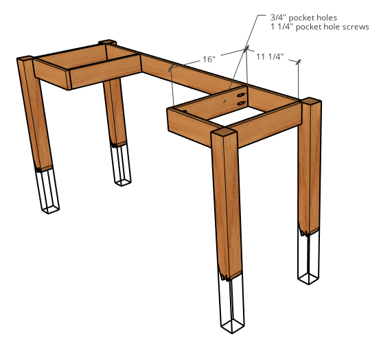 Diagram of DIY Resin Desk Design with broken floating legs