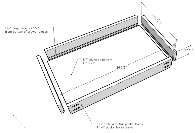 Drawer Diagram for simple DIY desk