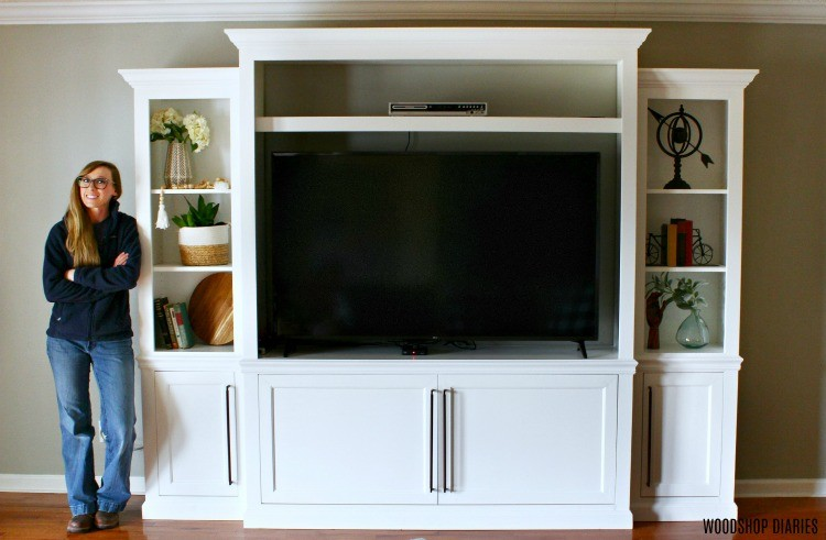 Shara Woodshop Diaries with Large DIY Entertainment center in living room