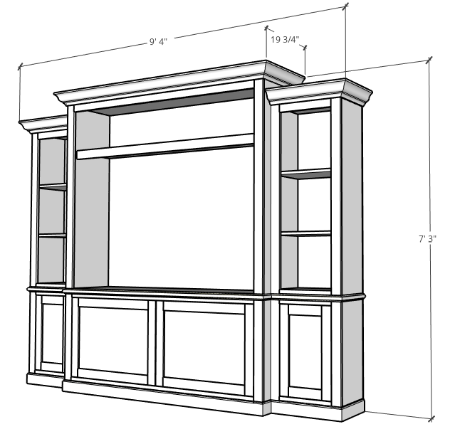3D Graphic of DIY Entertainment Center overall dimensions