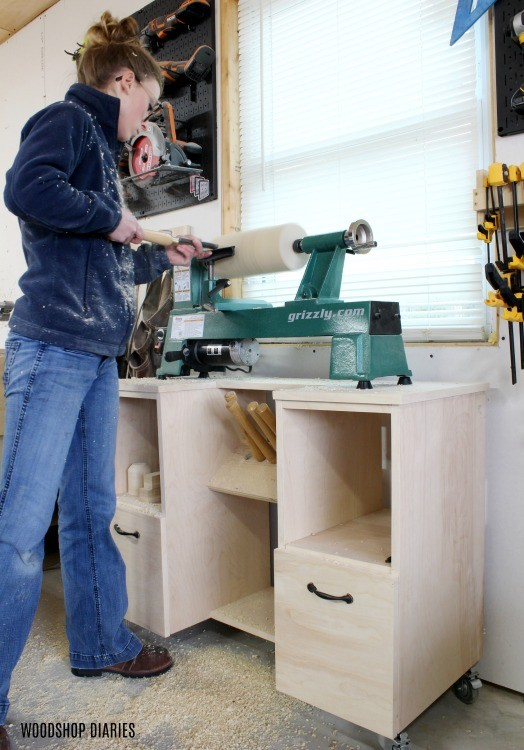 Shara Woodshop Diaries woodturning on her DIY mobile lathe stand