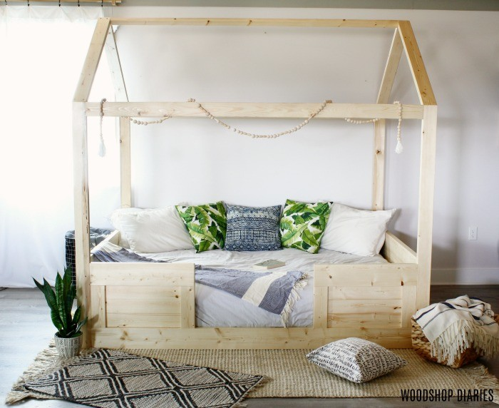 Front view of DIY kids house bed