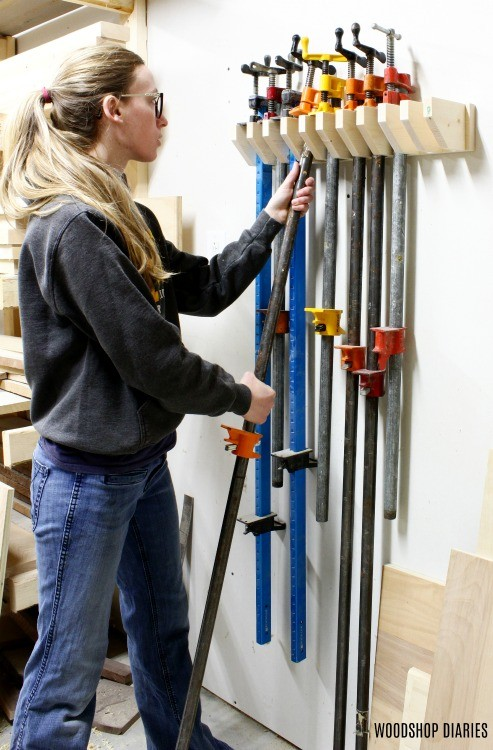 Shara Woodshop Diaries Hanging pipe clamps on rack