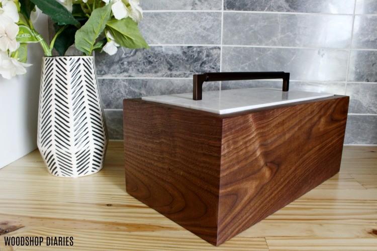Rectangle continuous grain keepsake box with tile lid
