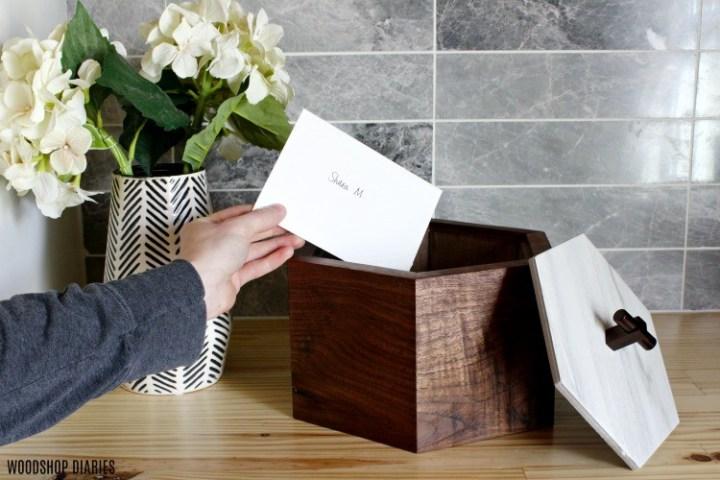 Hexagon Keepsake Box made from walnut and tile