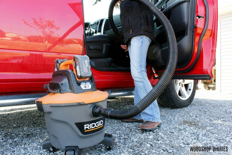 Using Ridgid shop vacuum to clean truck