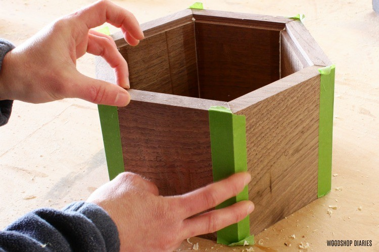 Clamp DIY continuous grain keepsake box with painters tape